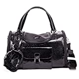 Fashion Dog Carrier PU Leather Dog Handbag Dog Purse Cat Tote Bag Pet Cat Dog Hiking Bag Travel bag (S, Black)