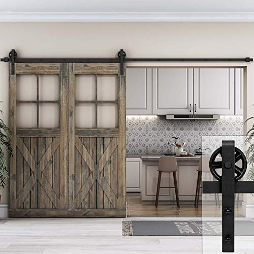 EaseLife 10 FT Heavy Duty Big Wheel Sliding Barn Door Hardware Track Kit - Ultra Hard Sturdy | Slide Smooth Quiet | Easy Install | Fit up to 60