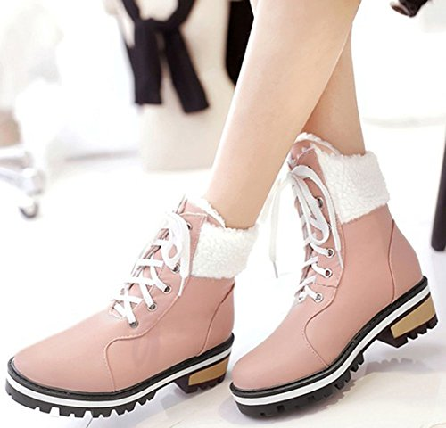 Easemax Women's Comfy Mid Chunky Heel Round Toe Lace Up Short Ankle High Booties Pink UtdMljkDK