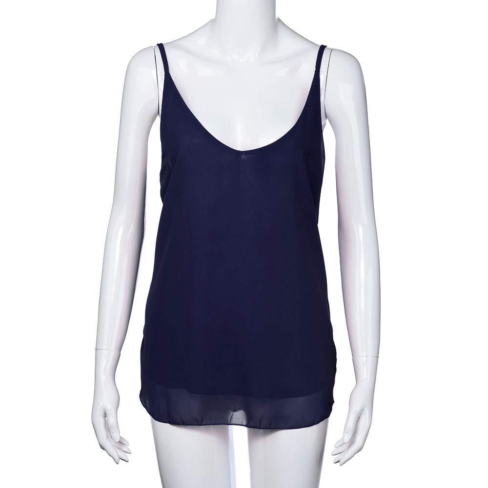iLUGU Women V Neck Tank Top Sleeveless Chiffon Cami Shirt Vest Blouse Us Polo Dark Blue by iLUGU (Image #2)