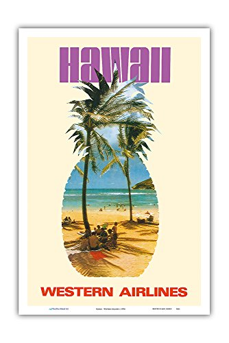 (Pacifica Island Art Hawaii - Western Airlines - Vintage Airline Travel Poster c.1970s - Master Art Print - 12in x)