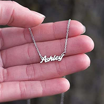 14K Rose Gold Petite Personalized Name Necklace with a 18 Chain by JEWLR