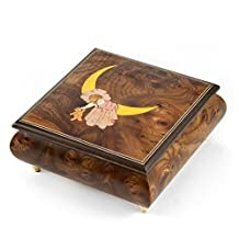 Nostalgic 30 Note Wood Tone Child on Moon Sleeping with the Stars Music Box - I Left My Heart in San Francisco