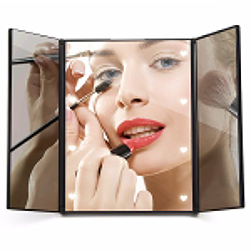 Travel Mirror LuckyFine Tri-Fold Lighted Led Mirror/Lighted Travel Mirror/Vanity Mirror/Lighted Makeup Mirror/Pocket Mirror/Compact Mirror/3 Way Mirror With LED