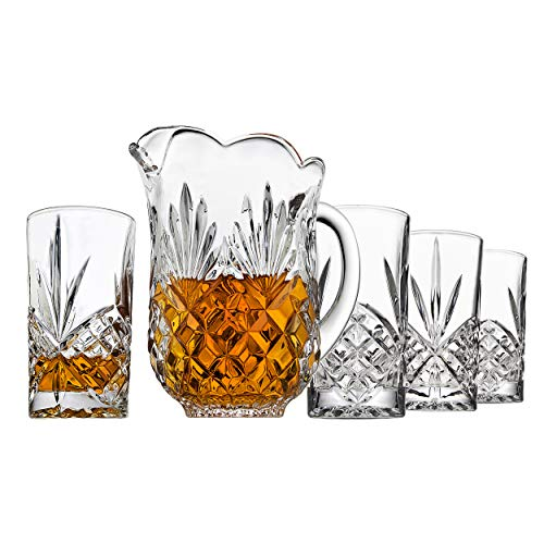 (Elegant Crystal Pitcher Drinkware Set with 4 Crystal highball Tumblers, Beautiful Jug with handle and Spout for Chilled Beverage Homemade Juice, Iced Tea or Water)