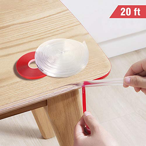 - Transparent Corner Guards, 20 Feet Furniture Table Edge Protectors Soft Silicone Bumper Strip with Double-Sided Tape for Furniture Edge & Sharp Corners Baby Proofing