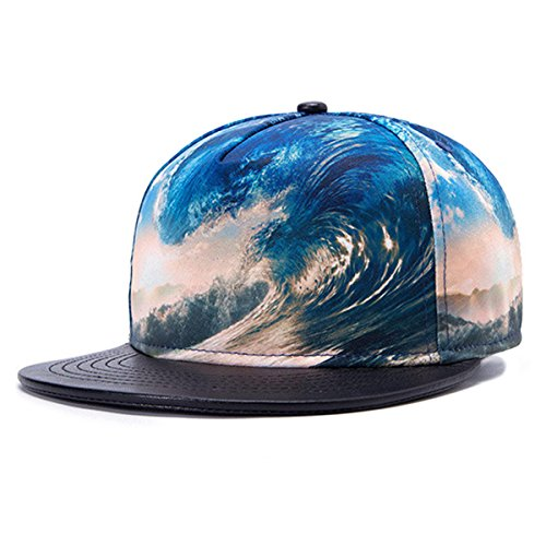 So'each 3D Galaxy Ocean Starry Print Flatbill Visor Snapback Baseball Hat Neon Sign (La Galaxy Snapback)