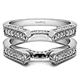 Sterling Silver Cathedral Style Ring Guard with Cubic Zirconia (0.55 ct. tw.)