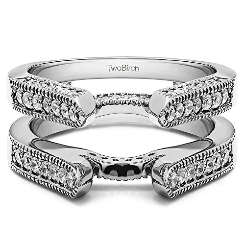 TwoBirch 0.55 ct. Cubic Zirconia Cathedral Style Ring Guard in Sterling Silver (1/2 ct. twt.)