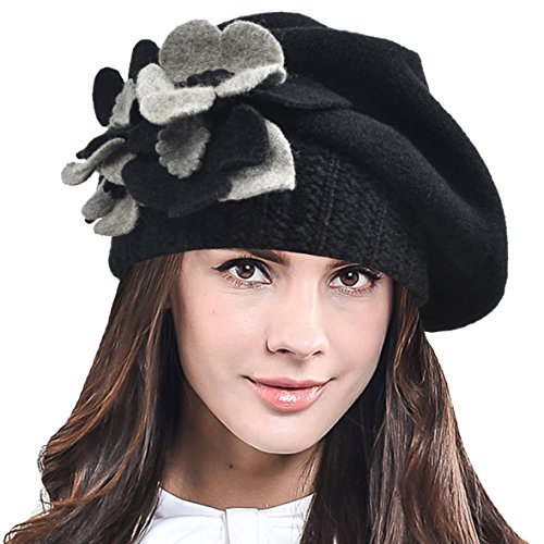 Lady French Beret Wool Beret Chic Beanie Winter Hat Jf-br034 (Floral-Black) (Wool Wash Hat)