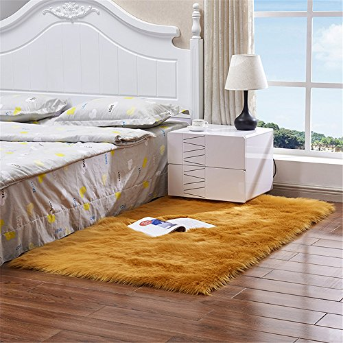 Meng Ge Top Quality Faux Australian Sheepskin Rug Sofa Couch Stool Casper Vanity Chair Cover Seat Pad Plain Area Rugs Living Bedroom Floor (Orange Sheepskin Rug)