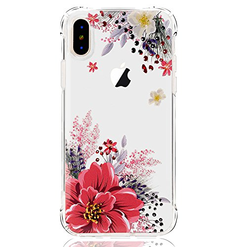 LUOLNH iPhone X Case,iPhone Xs Case with Flowers,Slim Shockproof Clear Floral Pattern Soft Flexible TPU Back Covercase for iPhone X/Xs -Pink Peony