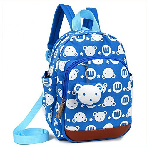 (Kids Cartoon Bags Walking Safety Harnes Toddler Leash Anti-lost bagpack with bear pendant (Light Blue))