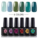dark nail polish set - Coscelia 6 Pcs Soak Off Gel Nail Polish Set Mint to Dark Green Series Nail Varnish Starter Kit