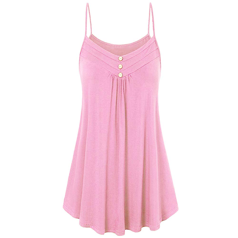 iLUGU Women Summer Loose Tank Top for Men Button V Neck Sleeveless Cami Vest Blouse Strapless Pink