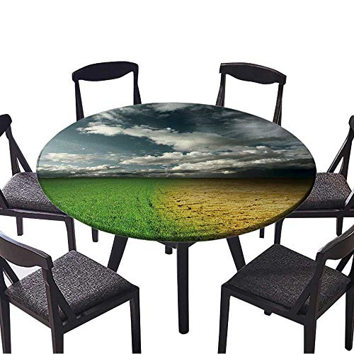 Round Tablecloth Green Meadow and Cracked Desert Land Under Storm Clouds for Wedding Restaurant Party 55