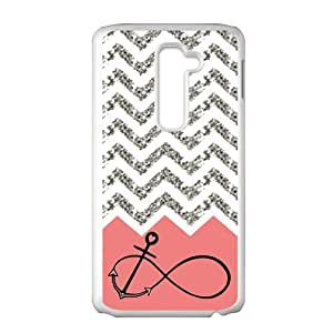 LG G2 AT&T Case Pink Infinity with Anchor Grey White Chevron Beautiful Luxury Cover Case Plastic For LG G2 AT&T ALL MY DREAMS