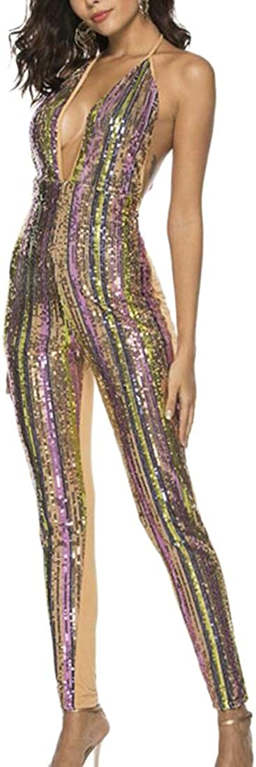 Joe Wenko Women Contrast Color V Neck Racerback Sequins Spaghetti Strap Backless Bodysuit Jumpsuits