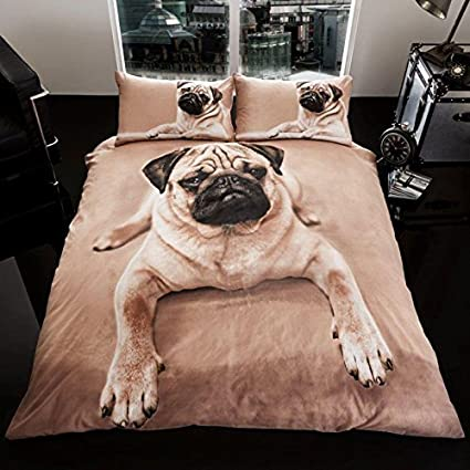 Amazoncom Pug Puppy King Size Duvet Cover And Pillowcase Set Home