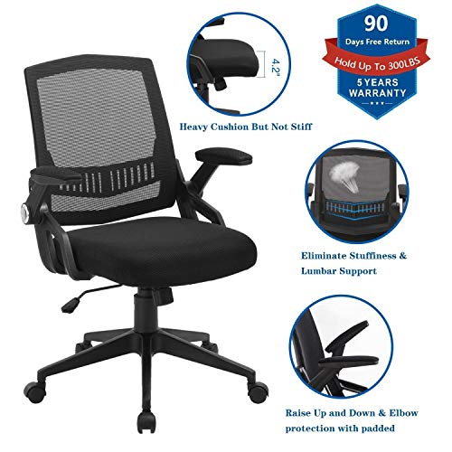 Ergonomic Office Chair, Mid Back Computer Desk Chairs with Massy Cushion and Flip-up Arms, Swivel Task Chairs – Agile Height Adjustment, Load Up to 300LBS, Breathable Mesh Chairs in Black