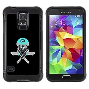 Suave TPU Caso Carcasa de Caucho Funda para Samsung Galaxy S5 SM-G900 / Skull Funny M Game Retro Guns Pistols / STRONG