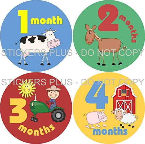 Farm Animals Monthly Baby Growth Bodysuit Stickers for Photos