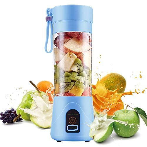Electric USB Juicer Blender Portable Juicer Cup 400ml Water Bottle Juicer Machine with 4 Blades, 2001mAh Rechargable Battery (Bule)