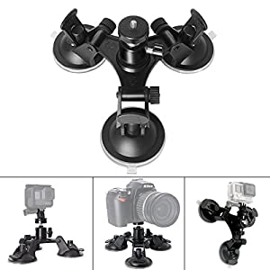 Fantaseal Triple Cup DSLR Camera Suction Mount w/Ball Head for Nikon Canon Sony DSLR /Camcorder + GoPro Hero 6 5 /4/3 Sony Garmin Xiaomi Yi SJCAM Suction Cup Mount Car Mount Holder Window Mount
