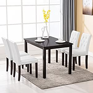 Amazon.com - Mecor 5 Piece Dining Table Set Wood Table/4 Leather ...