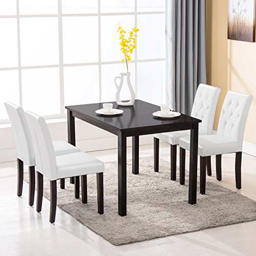 Mecor 5 piece dining table set wood table 4 leather chairs for Leather chairs for kitchen table