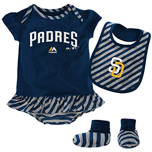 Outerstuff San Diego Padres Girls Baby Clothing, 3 Piece Creeper Bib Booties Apparel Set (San Diego Padres 3 Piece)