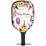 AmaUncle 3D Pickleball Paddle Racket Cover Case,Party Owl Family with Colorful Cone Hats on Confetti Backdrop Customized Racket Cover with Multi-Colored,Sports Accessories