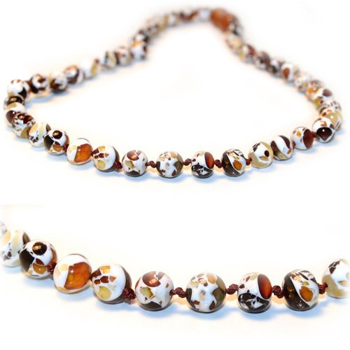The Art of Dry Original Premium Baltic Amber Teething Necklace - Lab Tested (RECYCLED MOSAIC) - 12.5 Inches