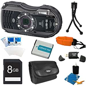 Pentax Optio WG-3 16 MP Digital Camera (Black)Premiere Bundle Includes 8GB Memory Card, Reader, Battery, Case, Tripod, Floating Wrist Strap, Screen Protectors, & Lens Cleaning Kit.