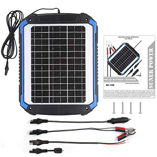 SUNER POWER 12V Solar Car Battery Charger & Maintainer - Portable 14W Solar Panel Trickle Charging Kit for Automotive, Motorcycle, Boat, Marine, RV, Trailer, Powersports, Snowmobile, etc. by SUNER POWER (Image #2)