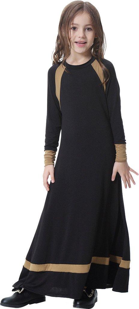 Ababalaya Muslim Islamic Girl's Soft O-Neck Full Length Long Maxi Runway Abaya Dress,Black,L Suitable for Height 4'3''
