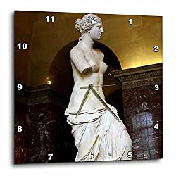 3dRose DPP_38329_1 The Lovely Venus De Milo Statue Which is Still Admired by All in The Louvre Wall Clock, 10 by 10-Inch