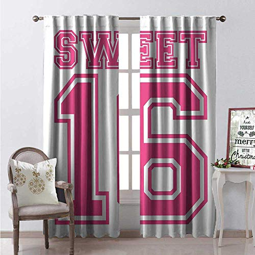 - Hengshu Sweet 6 Room Darkening Wide Curtains Teenage Girl Concept College Style Sweet Sixteen Birthday Bold Letters Waterproof Window Curtain W72 x L108 Hot Pink and White