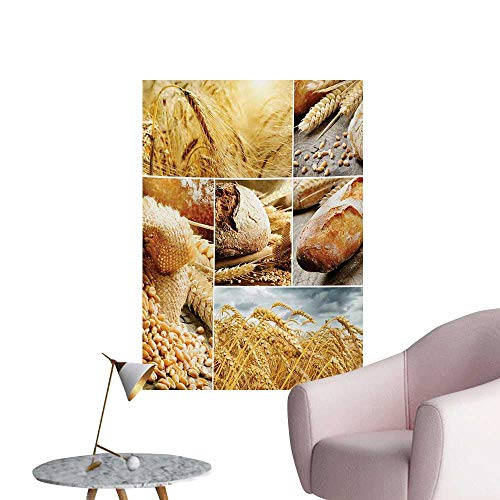Anzhutwelve Harvest Wallpaper Various Stages of Bread Making from Wheat to Final Product Collage PatternEarth Yellow Brown W24 xL32 Funny Poster]()