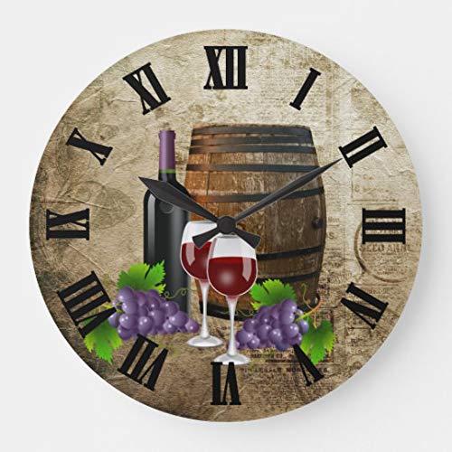 Moonluna Vintage GRAP Wine Barrel Large Wall Clocks Decorative for Living Room Kitchen Bedroom Bathroom Home Office Decor 16 Inches