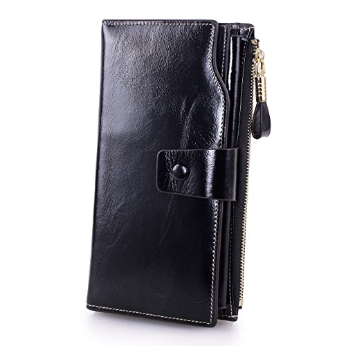 Lecxci Leather Wallets Checkbook Handbags