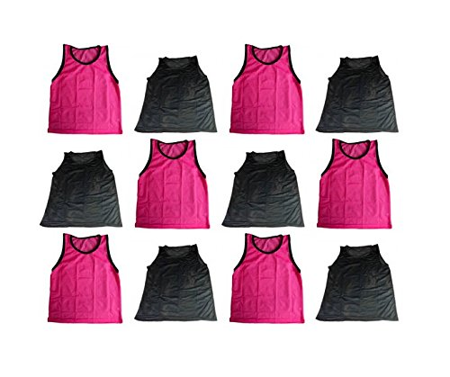 BlueDot Trading Youth Sports Pinnie Scrimmage Training Vest, Combo Pink/Black, 12 Pack