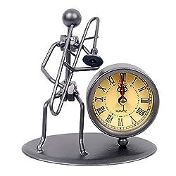 Classic Vintage Old Fashion Iron Art Musician Clock Figure Ornament for Home Office Desk Decoration Gift (C66 Trombone)