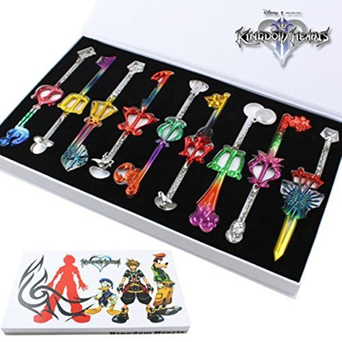 Keyblade Set - 9pcs Cosplay Kingdom Hearts 2 Sora Key Sword Keychain Accessories Necklace Set