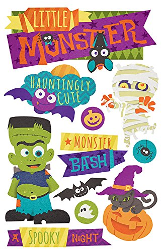 Paper House Productions STDM-0220E 3D Cardstock Stickers, Halloween Monster (3-Pack)