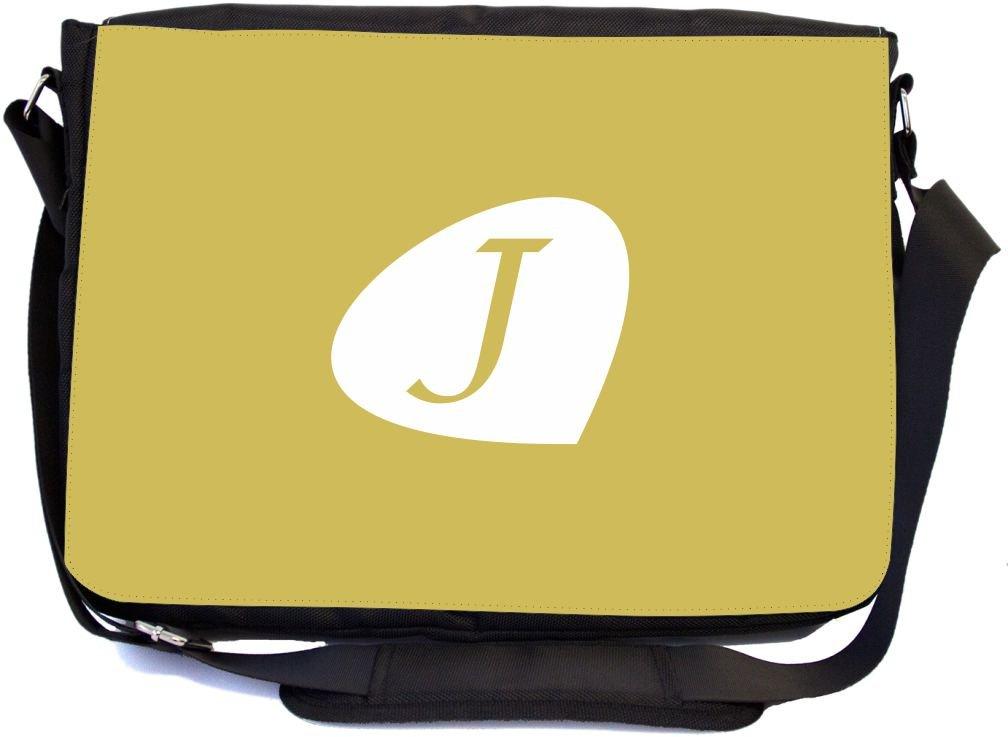 Messenger School Bag mbcp-cond43994 Rikki Knight Letter J Honey Mustard Initial Petal Leaves Design