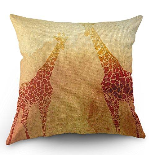 Moslion Giraffe Throw Pillow Cover Pillow Case Safari Tropical African Animal Giraffes Cotton Linen Pillow Case 18 x 18 Inch Cushion Cover for Men Women Kids Orange