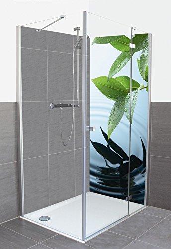 artland dusche bad rckwand wandverkleidung aus aluminium verbund platte motiv okea pflanze und wasser wellness zen - Dusche Ruckwand Material