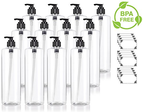 Clear 16 oz / 500 ml Professional Cylinder PET Bottles (BPA Free) with Black Lotion Pump (12 pack) + Labels for Shampoo, Conditioner, Body Wash, Lotion, and more