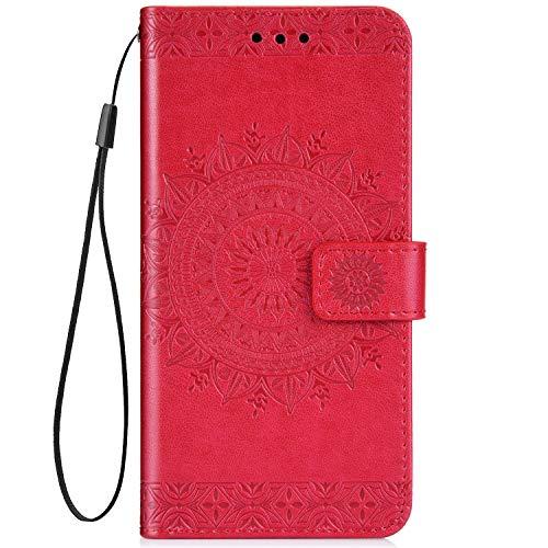 IKASEFU Emboss Floral Totem Pu Leather Wallet Strap Case Car